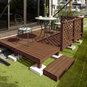 5%OFF / デッキ 天然 木 ウッド ACQ セット DIY テラス 庭 ガーデン タカショー / システムデッキ 1.5坪 ACQブラウン /D