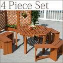 【送料無料】ウッディーガーデン六角テーブル4点セット(テーブル1台・ベンチ3脚)