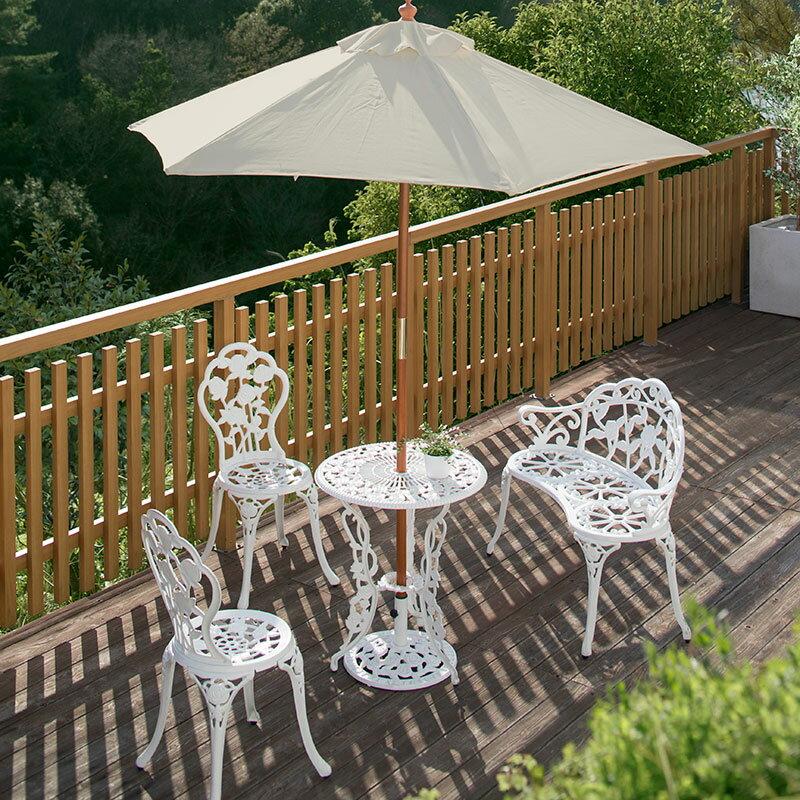 ガーデンテーブル セット/テーブルセットローズ ホワイト6点セット/SGT-15WN/6S:青山ガーデン