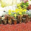 花壇まわりを美しく彩る天然木製の連杭。土留め花壇杭  乱杭8連(小)焼磨き