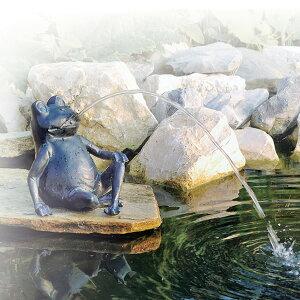 噴水 池 ファウンテン オブジェ 人形 カエル 水音 庭 ガーデン タカショー / ウォーターデコ フロッグ /A