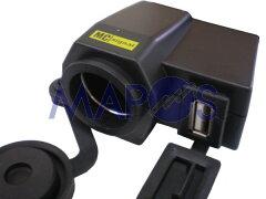 バイク用シガーライターソケット+USB端子 DCステーションUSBプラス シガライター1口+USB端子...
