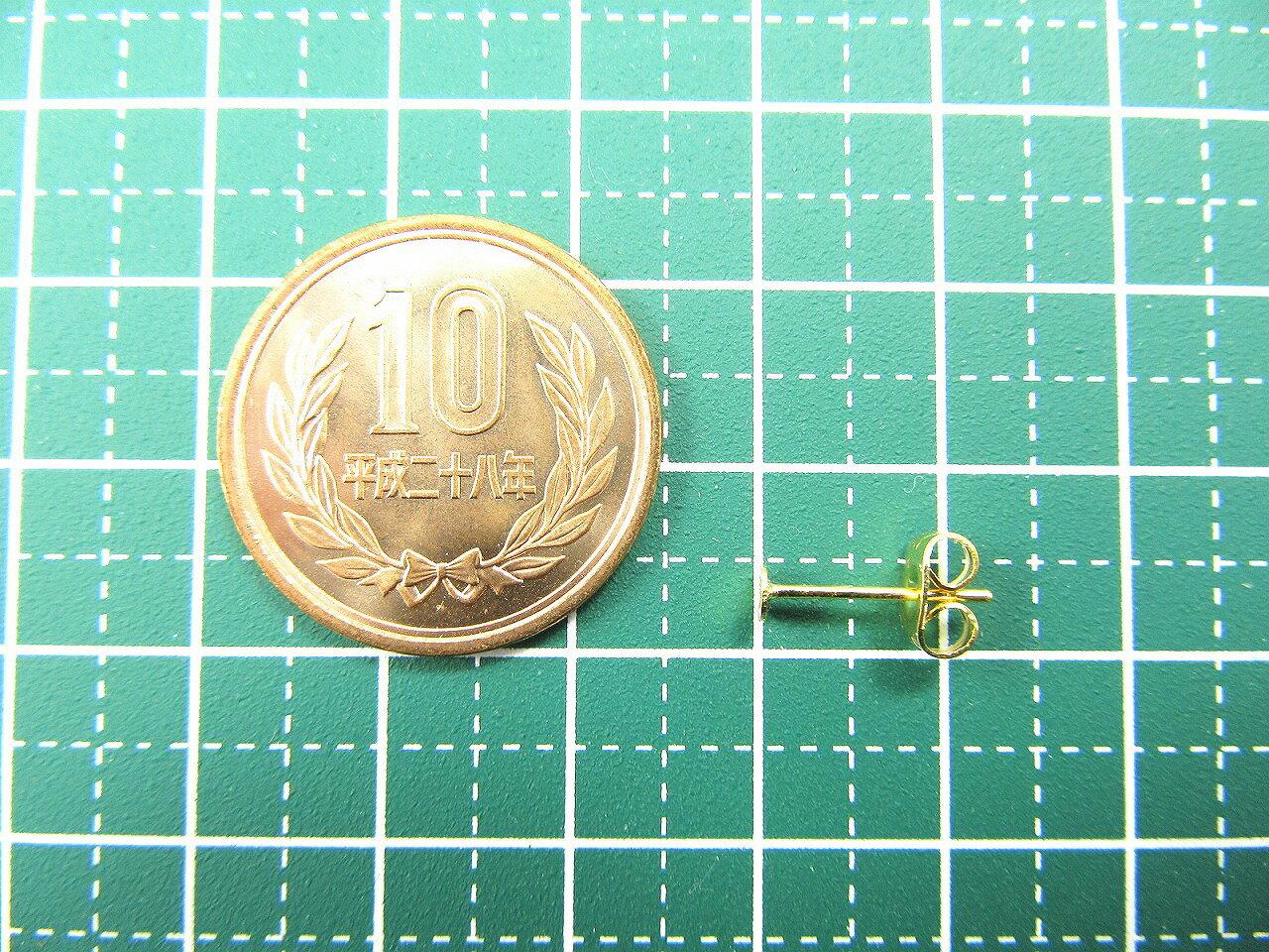 [50個] サージカルステンレス 丸皿5mm ピアス [ゴールド金] キャッチ付き パーツ