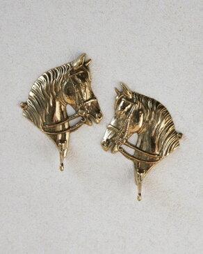 馬をモチーフにした優雅で豪華な真鍮の壁掛けフック(ゴールド/2個セット)イタリア製 玄関 リビング インテリア 輸入 雑貨 お洒落 ヨーロッパ 豪華
