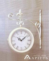 掛け時計 両面 壁掛け ホワイト色 輸入雑貨 フレンチ お洒落 ナチュラル インテリア デザイン ウォールクロック 海外 便利 ヨーロピアン リビング 玄関