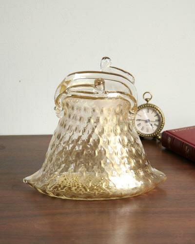 バッグ型の置物(ムラノガラス/ゴールド)