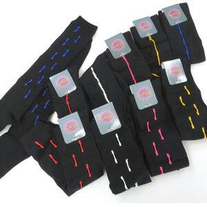 2足で100円 個性的デザインのハイソックス 黒 ライン(赤・白・黄色・ピンク・ブルー) 22cm〜24cm
