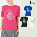 bAz バズ / NAWA レディース スポーツウェア 日本製 ノーマルT半袖(b∧zフェス柄) レディース 健康体操 ウォーキング ファッション S/M/L/LL ブラック/インクブルー/ピーチ/ホワイト