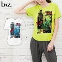 bAz バズ / NAWA レディース スポーツウェア 日本製 クルーネック半袖(マップペイント柄) Tシャツ レディース 健康体操 ウォーキング ファッション M/L/LL ライム/ホワイト