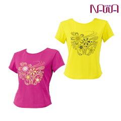 NAWA(ナワ)チビT半袖(水玉花柄)レディースシニア向け健康体操ウォーキングファッション日本製M/L/LLピンク/イエロー