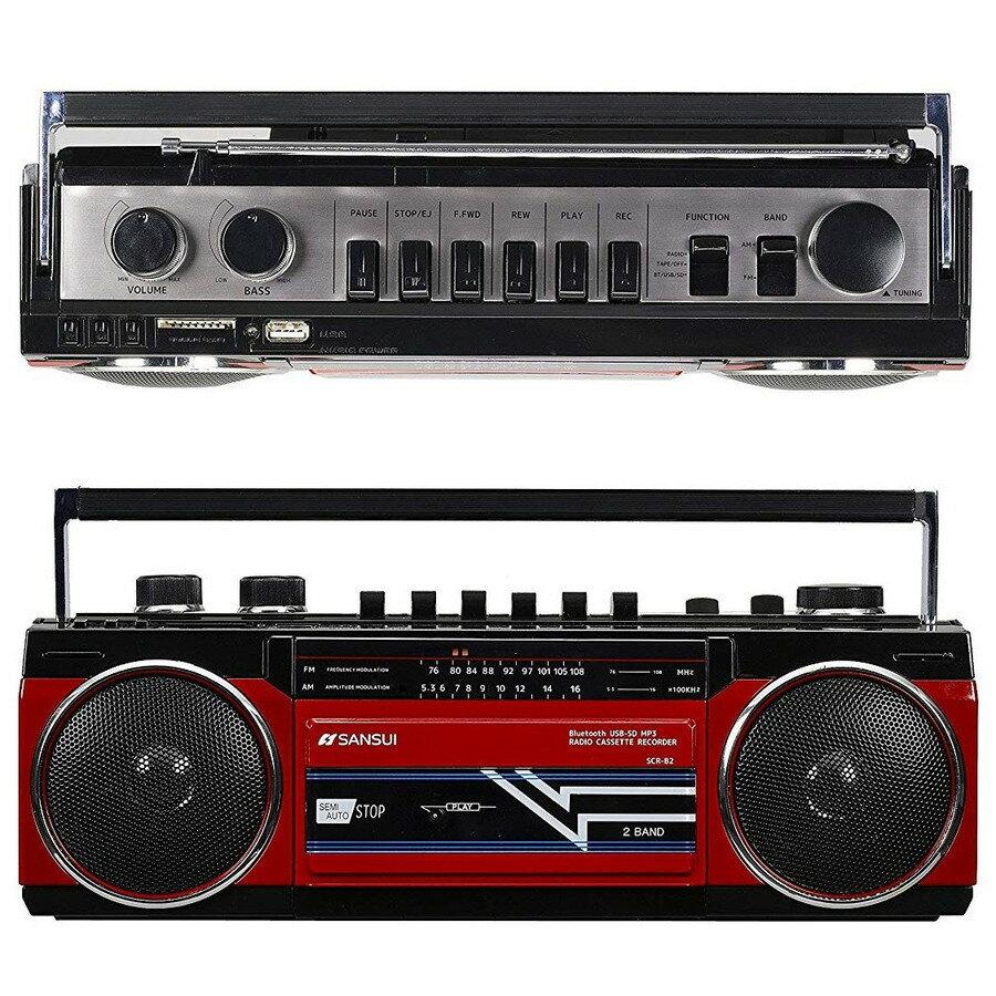 オーディオ, ラジカセ SANSUI SCR-B2 RD Bluetooth MP3 (R)