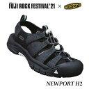 キーン 1023965 23.5cm フジロック コラボモデル ウィメンズ ニューポート エイチ2 コンフォートサンダル/クロッグサンダル Keen Woens Newport H2 Black/White Fuji Rock Festival'21