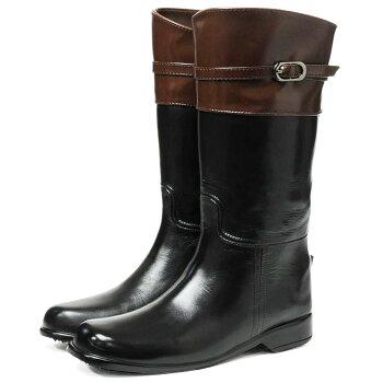 RubbALBIラブアルビジョッキー(乗馬)タイプ本革調レインブーツスノーブーツラバーブーツジョッキー型レディーススノーブーツママ長靴雨靴雨雪台風豪雨対策