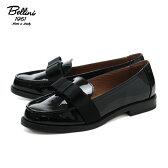 DIEGO BELLINI D2733 ディエゴ ベリーニ エナメル リボンローファー ブラック 黒 パテント フラットシューズ イタリア製 レディース 女性用 おじ靴 sgs 1402