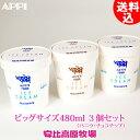 【ビッグサイズ】安比高原牧場 アイスクリーム 480mlカップ (バニラ2個+チョコチップ1個) 3個セット