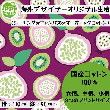 キャンバス生地 コットン100%Little Smilemakers Studio/Organic Fruits生地幅110cm 大判生地