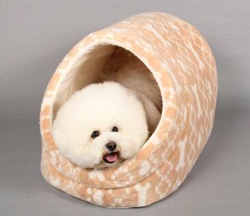 肉球+ボーン柄ジャガードドーム型L【犬のベッド】【猫のベッド】オーガニックコットン