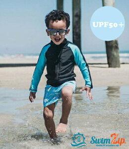 スイムジップ SwimZip 長袖 ラッシュガード DeepBlueShark 水着 上下セット ショート丈パンツ キッズ ベビー 子供 男の子 ジップアップ