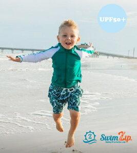 SwimZip ラッシュガード セット キッズ スイムジップ 長袖 男の子 Palm Leaves 上下セット 子供 70 80 90 100 110 120 130 ジップアップ 水着