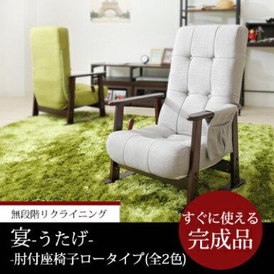 座椅子コンパクトグリーングレーリクライニング完成品