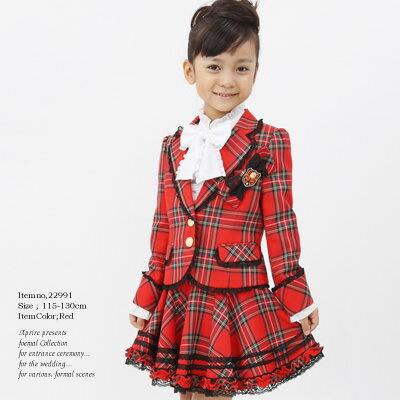 タータンチェックのロンドンスーツ 女の子 入学式 子供服フォーマルスーツ トドラーサイズ:115...