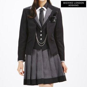 【送料無料】ミチコロンドンスーツセット 黒xグレー 女の子 卒業式 卒服 フォーマル 150c…