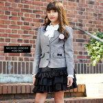 2701-3502【送料無料】卒業式スーツ女の子スーツセットジャケットスカートリボンコサージュフリルグレーMICHIKOLONDONKOSHINOミチコロンドンコシノ150160165cm