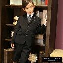 【入学式 スーツ 男の子 子供服】2471-5420 ブラックスーツ6点セット ギンガムチェック又はストライプのクレリックシャツ 110 120 130cm(ゆったりサイズあり) MICHIKO LONDON KOSHINO/ミチコロンドンコシノ