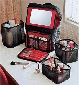 【コジット】キルトコスメ ボックス【あす楽】【キルトコスメBOX コスメポーチ メイクボックス 鏡付き 収納 化粧道具 持ち運び】