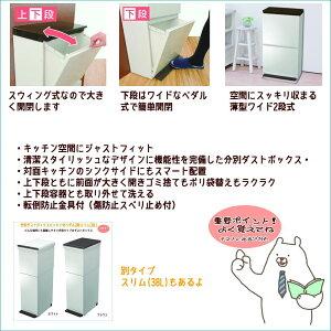 【アスベル】分別ダストボックスペダル2段ワイド40L【送料無料】【ゴミ箱ダストBOX分別キッチン屋内】