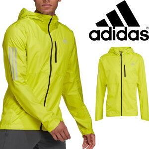 ウィンドブレーカー ランニングウェア メンズ アウター/アディダス adidas オウン ザ ラン フード付 ウインドジャケット/スポーツウェア 防風 撥水 男性 トレーニング ジョギング 上着/FYR45-GJ9950