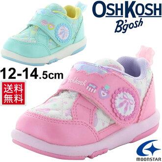 奧什科什嬰兒鞋奧什科什 Bgosh 嬰兒鞋嬰兒運動鞋兒童鞋女寶寶 12.0 釐米-14.5 釐米田徑鞋絲帶少女的可愛女孩 /OSK-B412