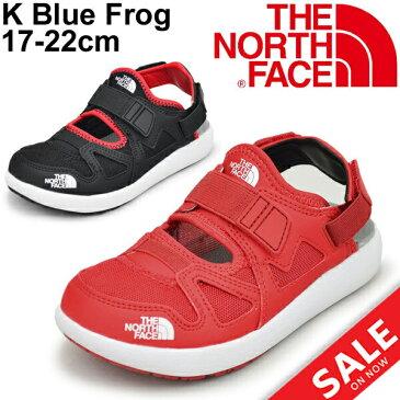 キッズシューズ ジュニア 男の子 女の子 子ども ノースフェイス THE NORTH FACE ブルー フロッグ/サンダル スニーカー 子供靴 17-22cm アウトドア キャンプ レジャー カジュアルシューズ 靴/NFJ51841
