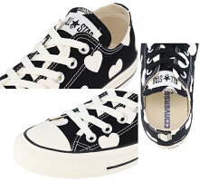 スニーカーレディース/コンバースconverseオールスターフルハーツOX/女性靴キャンバスローカットシューズハート総柄かわいいブラックホワイトALLSTARFULLHEARTSOX正規品/3130157