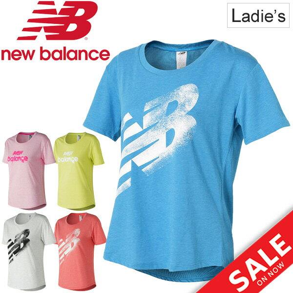 Tシャツ半袖レディースニューバランスnewbalanceヘザーテックTEEスポーツウェアビッグロゴ女性用半袖シャツクルーネックラ