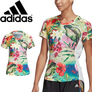 半袖 Tシャツ レディース/アディダス adidas OWN THE RUN FLORAL TEE W/ランニング スポーツウェア 花 ボタニカル柄 女性 ジョギング フィットネス トップス/JLE36-GK6970