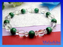 パワーストーン マラカイト&水晶デザインブレスレット 数珠 ブレスレット...