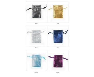 選べる6種類ポーチ アクセサリーや小物入れに♪ 【プチ包装グッズ】テカテカサテンのカラフル巾着袋(大)12x10cm 1枚売り