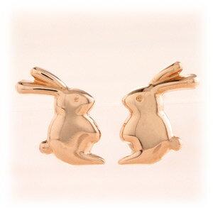 ★送料無料★60%off♪可愛さ、一目瞭然★大人キュートなふたごのウサギ・・♪「ピンクゴールド...