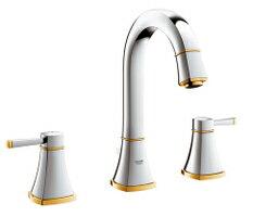 GRANDERAグランデラ2ハンドル洗面混合栓(引き棒付)クローム/ゴールド20389IGJ