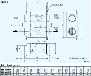 三菱電機空調用送風機ストレートシロッコファン同時給排気タイプ消音形BFS-80WSU(BFS80WSU)