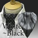 【ホワイトブラック系】ノットノットスカーフ(ワンタッチスカーフ)65654