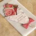 ブーケ型ミニメッセージカード「ローズ」ピンクのバラの花束型の...