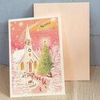 メルヘンクリスマスカード『夕暮れピンクに染まる白い教会に集まるサンタと森の動物』【メール便可】