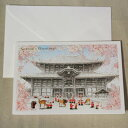 日本の風景のクリスマスカード『奈良東大寺大仏殿と鹿とサンタク