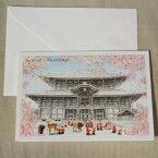 日本の風景のクリスマスカード『奈良東大寺大仏殿と鹿とサンタクロース』【グリーティングカード・ギフトカード・メッセージカード・greeting card message】【メール便可】