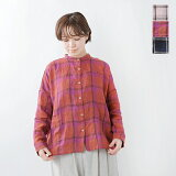 【クーポン対象】【2021ss新作】Lilou&Lily(リルアンドリリー)リネンバンドカラー チェックビッグシャツ s209a-0110-mt