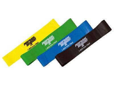 PERFORMBETTERミニバンド全色セットイエロー(ライト)グリーン(ミディアム)ブルー(ヘビー)ブラック(エクストラヘビー)エクササイズお得な各色1本セット