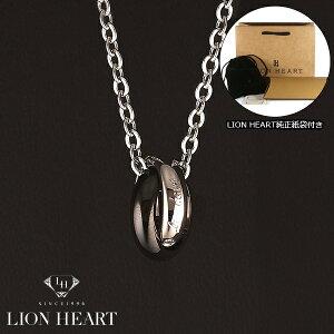 【LION HEART】ライオンハート ネックレス メンズ 2連リングネックレス シルバー/ブラック 04N124SM