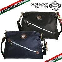 オロビアンコ ショルダーバッグ Orobianco IKONIKO メンズ レディース イッコニコ 別注 斜めがけバック バッグ ナイロン レザー NYLON/DOLLARO-SOFT ブラック/ブルー イタリア製